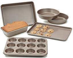 Cook N Home NC-00377 6-Piece Heavy Gauge Non-Stick Bakeware, Bronze