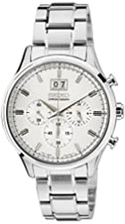Seiko Chronograph Silver Dial stainless Steel Mens Watch SPC079