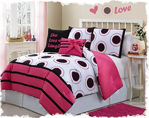 5 Piece Pink, Black, And Brown Twin Size Bedding Bed In Bag Comforter Set By Plush C Collection
