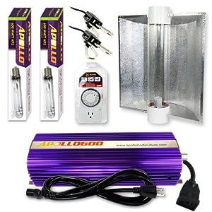 Apollo Horticulture GLK600CTAC2HPS 600 Watt Grow Light (2 HPS Bulbs Only) Digital Dimmable HPS MH System for Plants Air Cool Tube Hood