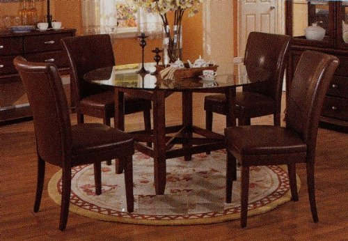 Cheap Mira Dining 5 Piece Set with 10mm Clear Beveled Round Glass Table Top in Cherry Finish – Coaster Co. (VF_AZ00-7539×30719)