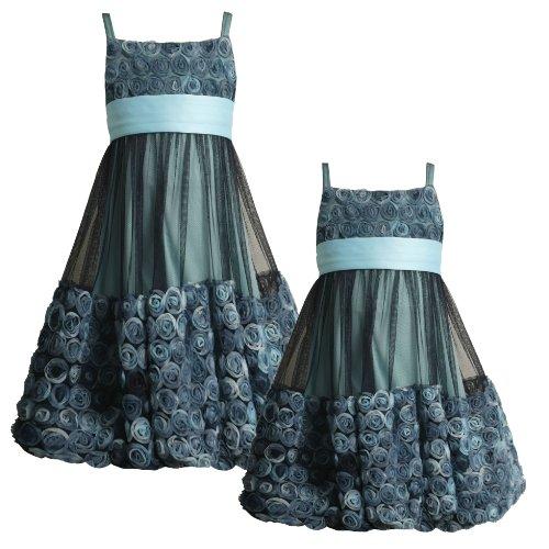 Size-5 BNJ-0759B AQUA-BLUE BONAZ ROSETTE BUBBLE MESH Special Occasion Wedding Flower Girl Party Dress,B30759 Bonnie Jean LITTLE GIRLS