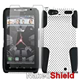 Motorola Droid RAZR XT912 White/Black Dual Shield Tough Case + Naked Shield Screen Protector