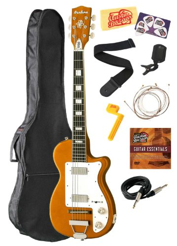 Airline H44 Dlx Electric Guitar Bundle With Gig Bag, Instrument Cable, Strings, Strap, Tuner, Picks, Stringwinder, Dvd, And Polishing Cloth - Copper
