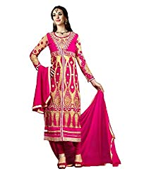 Meera Women's Georgette Unstitched Dress Material (KSR1_Pink Beige)
