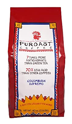 Puroast Low Acid Coffee Colombian Supremo Blend Whole Bean, 2.5-Pound Bag