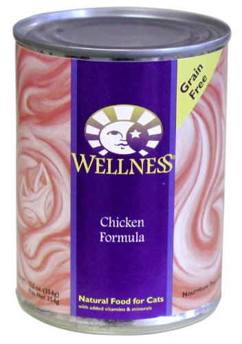 Wellness Canned Cat Food for Adult Cats, Chicken Formula (Pack of 12 12.5 Ounce Cans)