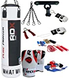 Authentic RDX 9Piec Boxing Set 5ft/4ft Punch Bag,Gloves Kick Punching