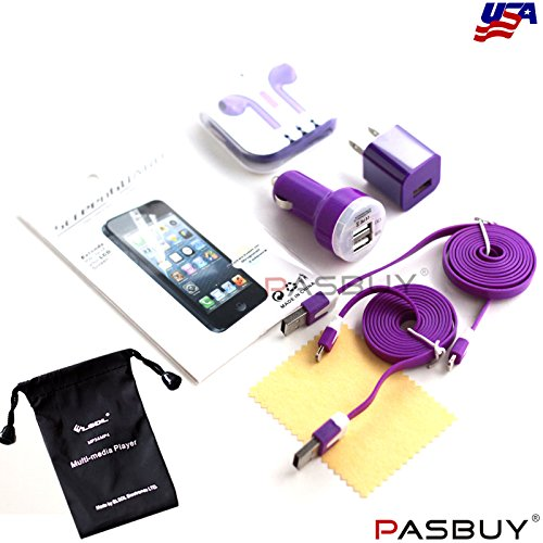 Pasbuy® 1049/6Ft/Purple 6 In 1 Wall & Dual Usb Car Chargers+Earphone+(2) 8 Pin Flat Cables+Lcd Screen For Iphone 5 5S 5C+Free Mp3 Of Sling Bag