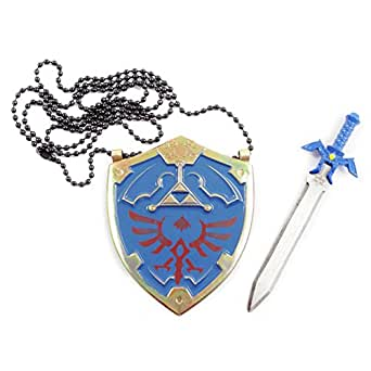 Legend of Zelda Master Sword Letter Opener and Hylian Shield Necklace