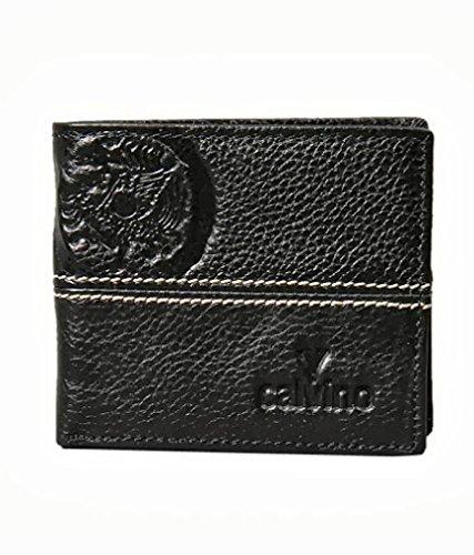 Calvino Calvino Trendy Embossed Textured Black Men's Wallet