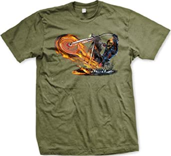Skeleton on Flaming Chopper T-shirt, Biker T-shirts, Motorcycle T-shirts, Small, Army Green