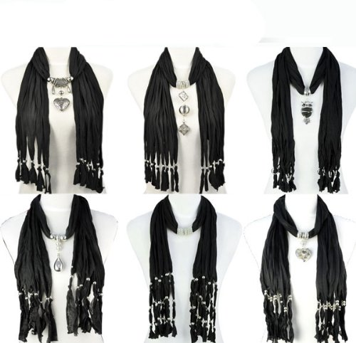 6 Styles/lot,black Scarf Group Mix Design Fashion Winter Jewelry Scarf Woman Warm Shawl,10-18 Days Delivery From China By Usps