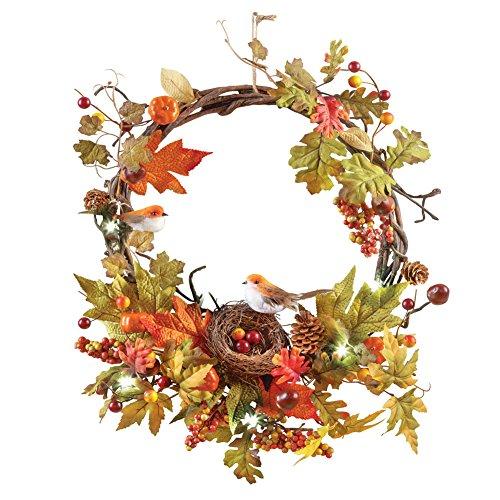 Lighted Berries & Bird Wreath