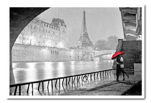 Paris Eiffel Tower Kiss Poster Cork Pin Memo Board White Framed - 96.5 x 66 cms (Approx 38 x 26 inches) (Paris Memo Board compare prices)