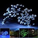 INST Solar Powered LED String Light, Ambiance Lighting, 55ft 17m 100 LED Solar Fairy String Lights for Outdoor, Gardens, Homes, Christmas Party (White)