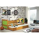 Funktionsbett Schubladenbett Kinderbett RICO 2 ausziehbar 185/80cm Farbe: Erle + Matratze + Lattenrost inkl.