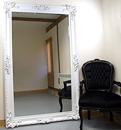 "Paris White Shabby Chic Extra Large Classic Leaner Mirror - 114cm (45"") by 175cm (69"")"