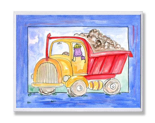 The Kids Room by Stupell Red and Yellow Dump Truck with Blue Border Rectangle Wall Plaque