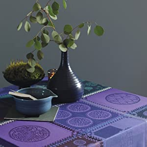 Garnier Thiebaut Coated Tablecloth Mille Batik Indigo 69 x 69 Inch Square