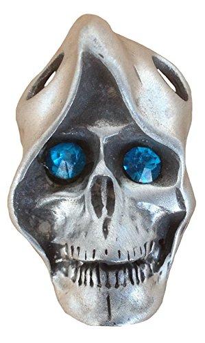 Unisex Uomo e Donna Ticila ciondolo a forma di teschio cromato Mode drachensilber vetro MONK di Strass occhio antico argento colore