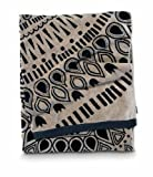 Citta Design 'Cuban Sun' Designer Oversized Beach Towel Charcoal/Latte, Beautiful Indian Cotton, 38x70 inches