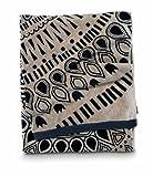 Citta Design 'Cuban Sun' Designer Oversized Beach Towel Charcoal/Latte, Beautiful Indian Cotton, 38x70 inches