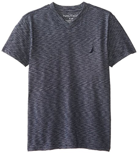 Nautica Big Boys' Solid Jersey Tee, Navy, Small front-1019786