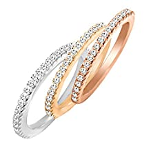 buy Sterling Silver Tri-Colored Stackable Rings With Cubic Zirconia - Silver, Yellow Gold, Rose Gold - 7