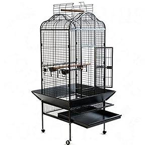 Elegant And Chic Metal Parrot Bird Cage In An Oriental Design w/ Handy Debris Trap