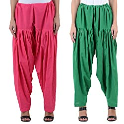 Numbrave Women's Pink-Green Cotton Full Patiala Salwar (Combo of 2)