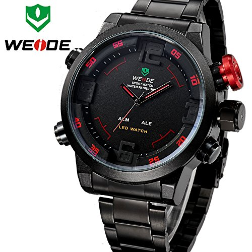 Weide Relogio Multi-Function Military Watch For Men'S Quartz Fashion Casual Watches Men Full Steel Led Display Wristwatches (Red Number)