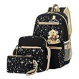 Urmiss Girls' Star Canvas Backpack Set 3 Pieces Patterned Bookbag Laptop School Backpack