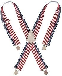 Custom LeatherCraft 110USA Heavy Duty USA Flag Elastic Suspender, USA Flag Print