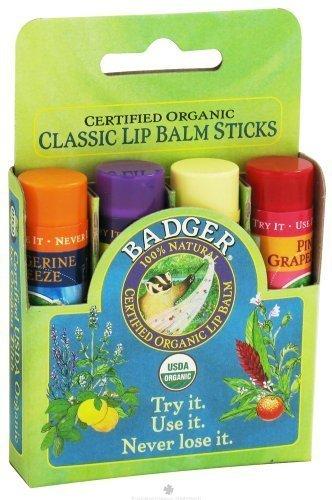 Badger Classic Lip Balm 4ーPack バジャー クラシックリップバーム 4個セット