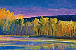 36W x 24H Yellow Trees, Yellow Lake by Ken Elliott - Stretched Canvas w/ BRUSHSTROKES