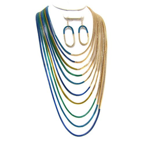 1431g 19 Box Chain Gold Plated Blue Green Necklace Earring Set