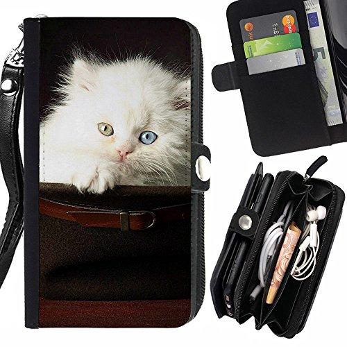 Peach Tech Portafoglio in pelle della Carta di Credito fessure PU Holster Cover in pelle case Motorola Moto X Play / Cat In Hat