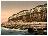 Victorian View of the Cliffs, Hunstanton, Norfolk, England, Large A3 size 41 by 28 cm Canvas Textured Fine Art Paper Photo Print