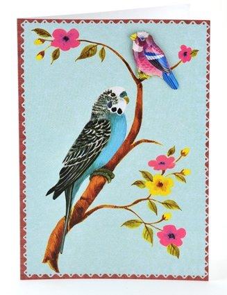 Petra Boase Tin Badge Card - Blue Budgie front-760198