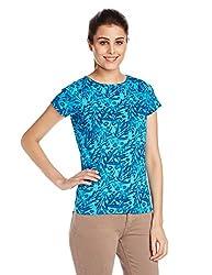 Wrangler Women's Printed T-Shirt (W14547J0308Z_Bright Blue_Small)