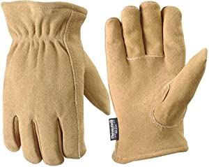 Wells Lamont 1091L Work Gloves, Timber Split Deerskin, G100 Thinsulate, Keystone Thumb, Large