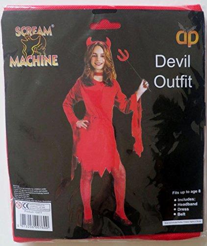 [Girls Red Devil Outfit Halloween Budget Fancy Dress Headband Horns Dress & Belt] (Red Devil Scream Queens Costume)