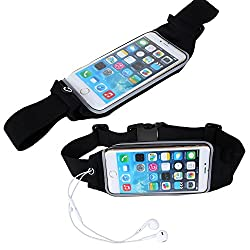 Skoot Portable Multifunctional Sports Elastic Waist Bag to Hold mobilephone, Keys, etc in A Safe Way - Black (supported upto 5.5 Inch Smartphones)