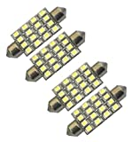 "Cutequeen Red 42mm(1.72"") 16-SMD 12V Festoon Dome Light LED Bulbs 211-2 212-2 569 578 - Red (pack of 4)"