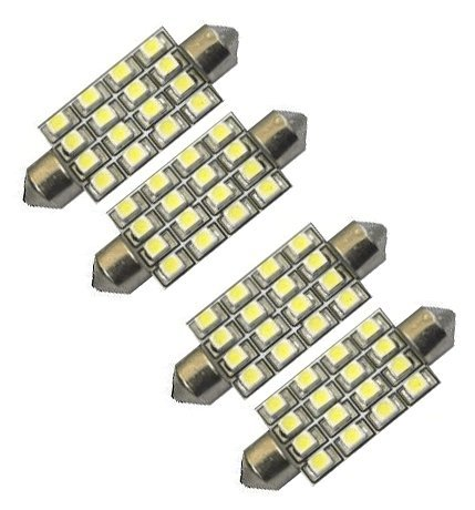 """Cutequeen Red 42Mm(1.72"""") 16-Smd 12V Festoon Dome Light Led Bulbs 211-2 212-2 569 578 - Red (Pack Of 4)"""