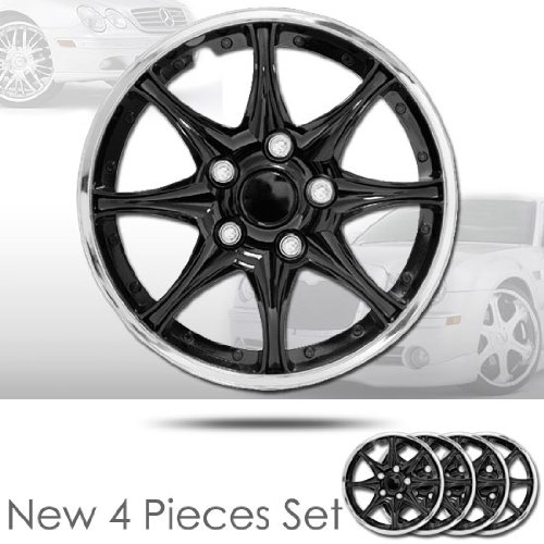 15 8 Spikes Black Hubcap Covers with Chrome Rim Brand New Set of 4 Pieces 522