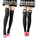 Cute and Sexy Knee High Socks Pantyhose Stockings Tattoo Tights (Black Cat)