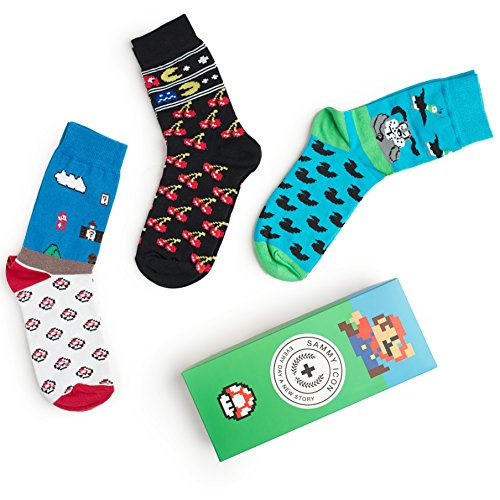 Cartoon Socks NES 8-BIT Comix Character! Crazy Unisex Dress socks 3 Pairs Pack! (Size 36/40)