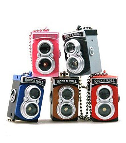 1 X LOCOMO Cute Mini Double Twin Lens Reflex TLR Camera Style LED Flash Light Torch Shutter Sound Keychain